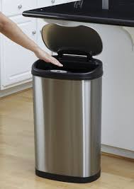 home design awesome laminate floor with nine stars motion sensor oval touchless stainless steel trash can