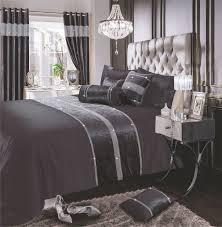charcoal black shimmer diamante sparkle crushed velvet duvet cover luxury modern bedding range