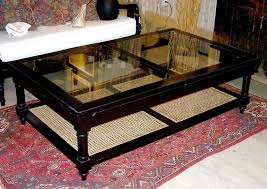 anglo indian style ebonized wood glass and cane coffee table