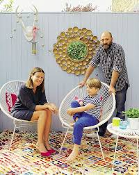 louise jamie and max on the decked kitchen terrace painted in parma gray by