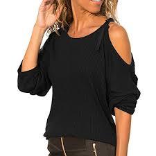 Dana Buchman Size Chart Women Autumn O Neck Long Sleeve Cotton Casual Cold Shoulder