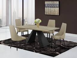 Modern Khaki Dining Table With Black Base And Khaki Chairs Detroit