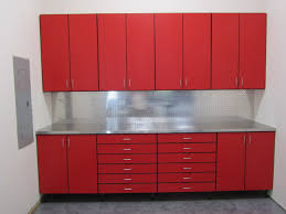 painted red furniture. Small Garage Spaces With Metal Cabinets Painted Red Color And Stainless Steel Countertop Plus Backsplash Hooks Ideas Furniture