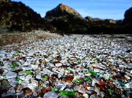 many of the most colorful and beautiful pieces of glass have been stolen from the beach
