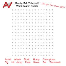Volleyball Word Ready Set Volleyball Word Search