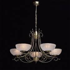 chandelier in antique brass with riffled glass shades save