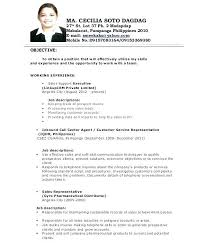 Resume Job Description Samples Download Call Center Resume Objective ...