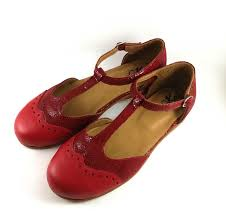 red leather mary jane shoes t strap leather shoes flat shoes image 0