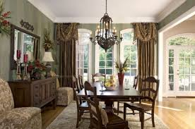 crystal dining room for luxurious impression. Excellent Dining Room Window Treatment Ideas Adding Beauty Aspect : Vintage Chandelier Inside Open Space Crystal For Luxurious Impression