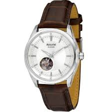 accurist automatic silver dial brown leather strap mens single accurist automatic silver dial brown leather strap mens watch ms907s