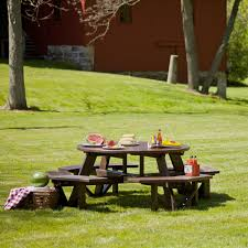 diy small round wood park picnic table with detached octagon bench seat painted with brown color plus rattan basket storage ideas
