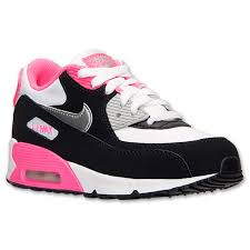 nike running shoes for girls black and white. girls\u0027 nike air max 90 running shoes white/metallic silver/black/hyper pink online retailers for girls black and white (