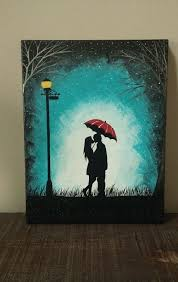original couple kissing in the rain wall art couple with red umbrella painting couple silhouette painting kiss art birthday gift for her by artbyrangrez on  on couple with red umbrella wall art with the night sky is lighter than the couple in the lamplight it makes