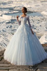 Light Blue Wedding Dress With Sleeves Cinderella Light Blue Ball Gown Wedding Dresses Elena Vasylkova 2019 Sheer Long Sleeves Lace Appliques Pearls Beaded Vintage Bridal Gowns Cheap