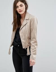 new look new look faux suede biker jacket women stone