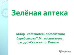 Презентация на тему Лекарственные растения Выполнил ученица  Зелёная аптека Зелёная аптека Автор составитель презентации Серебрякова Т М воспитатель с