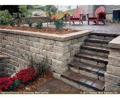 gallery outdoor living wall featuring: raised patio featuring highland stonear wall system