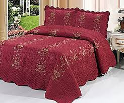 Homemusthaves-3 Piece Quilted Bedspread Burgundy Quilt Sham Floral ... & Homemusthaves-3 Piece Quilted Bedspread Burgundy Quilt Sham Floral New  (Queen) Adamdwight.com