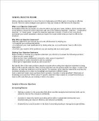 Good Example Of Objective On Resume General Objective For Resume