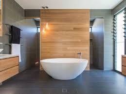 wooden wall tiles with dark gray floor