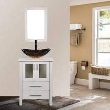 Elecwish 24 Inch White Bathroom Vanity And Sink Combo Stand Cabinet With Mirror Water Saving 1 5 Gpm Faucet Hole And Pop Up Drain