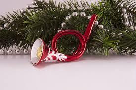 Trompete Posthorn In Rot Mit Ton Beim Hineinblasen