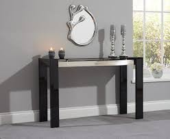 canberra black high gloss console table