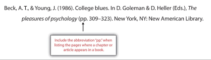 chapter citations and referencing writing for success st beck a t young j 1986 college blues in an article in a reference book