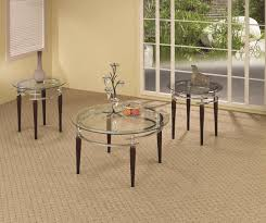 round glass coffee table set