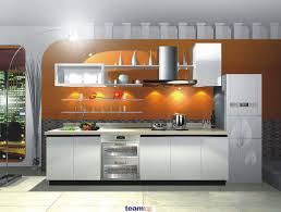 outstanding white melamine kitchen cabinets with white wall shelves on orange kitchen wall and white fl