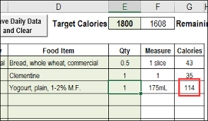 Food Nutrition Chart Excel Excel Calorie Counter