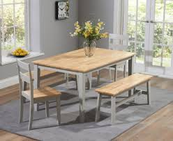 Chiltern 150cm Oak and Grey Dining Table Set with Benches Chairs Bench Sets | The Great Furniture Trading Company