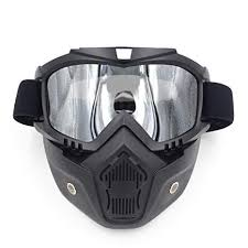 motorcycle face mask detachable open face helmet dust goggles mouth filter for cafe racer modular