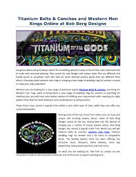 Bob Berg Designs Titanium Belts Conchos And Western Men Rings Online At Bob
