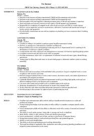 Plumber Resume Samples Velvet Jobs