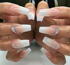 Pointy Nails Designs With Diamonds Nails For Confirmation Diamond Nail Designs Diamond Nails