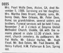 Obituary for Pearl Wolfe DEES - Newspapers.com