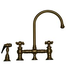 whitehaus vintage iii bridge style kitchen sink faucet with side spray cross handles