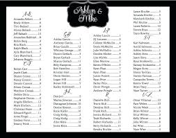 Wedding Seat Chart Poster Alphabetical Wedding Seating Chart Template Wedding Reception