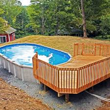 Wooden Pool Decks Architecture Cool Backyard With Oval Ideas And Above Ground Pool