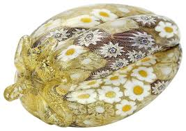 murano glass golden quilt murano millefiori eggplant contemporary decorative objects and figurines by glassofvenice
