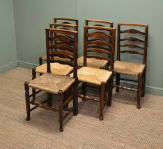 ladder back chairs with rush seats country oak harlequin antique ladder back chairs