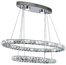 dixun modern crystal chandeliers rings led ellipse big pendant light with 2 rings max 48w chrome finish 30 50cm white