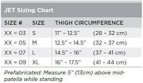 Breg Knee Brace Size Chart Jet Size Chart Breg Inc