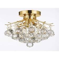empire crystal 4 light flush chandelier gold