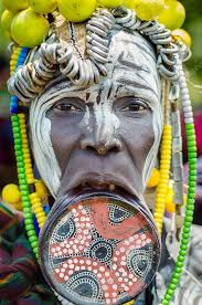 mursi woman with lip plate stock