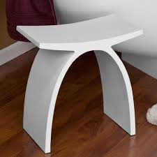 Stylish White Wooden Small Bathroom Bench On Laminate Floor - elegant homes  showcase