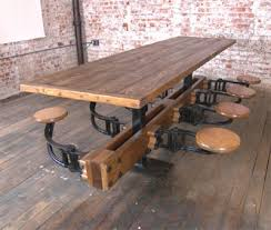 industrial metal and wood furniture. Vintage Industrial Cast Iron \u0026 Wood Swing Out Seat Table Metal And Furniture
