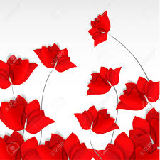 Bright Paper-cut Style Red Flowers ...
