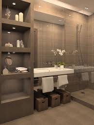 view in gallery bathroom with gray tiled shelving